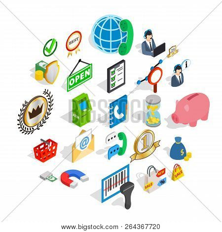Finance Center Icons Set. Isometric Set Of 25 Finance Center Vector Icons For Web Isolated On White