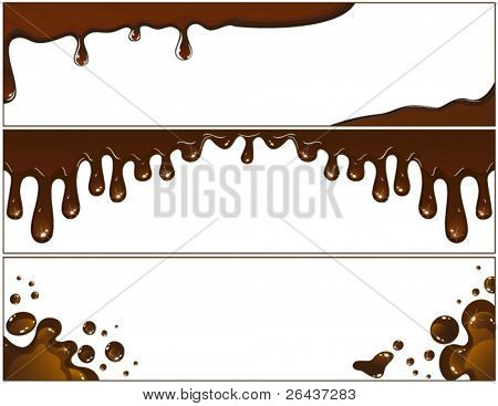 Set of chocolate banners with flowing drops