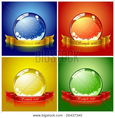 Set of colored Christmas spheres