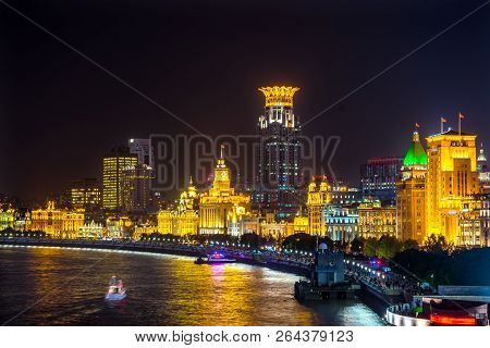 Shanghai, China - November 16, 2017 Bund Shanghai China  Night Shot One Of The Most Famous Places In