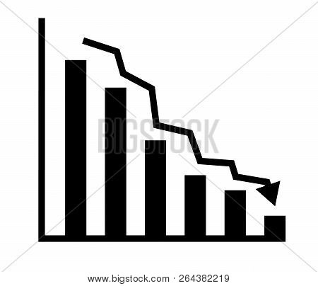Descending Analytic Graph Showing Loss And Business Downfall. Data Analytics Descendant Icon On Whit