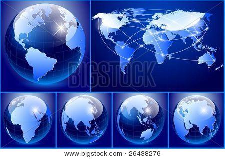 Vector of blue earth set