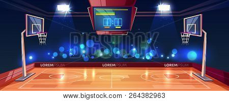 Basketball Court Illuminated With Stadium Lights, Scoreboard And Cameras Flashlight In Fan Sector Ca