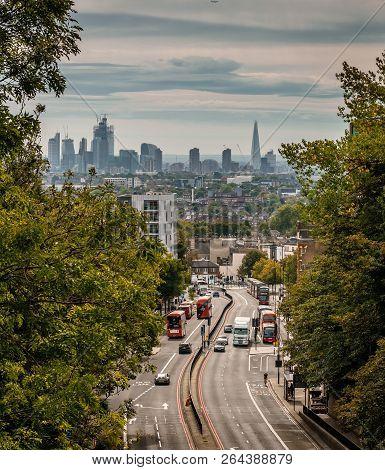 London / Uk - September 16 2018: The London Skyline From The Archway Hornsey Lane Bridge.  The Bridg