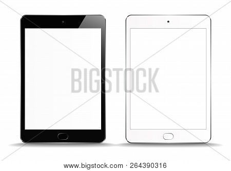 New Realistic set of White and Black Tablet PC Computer with blank Screen Isolated on white Background. Can Use for Template, Project, Presentation or Banner. Electronic Gadget, Device Set Mock Up. Vector Illustration