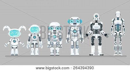 Robot Android Innovation Technology Science Fiction Future Flat Design Icons Set Vector Illustration