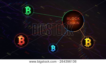 Blockchain Concept Banner On  Background Of Stock Market Graph. Blockchain Cryptocurrencies Global N