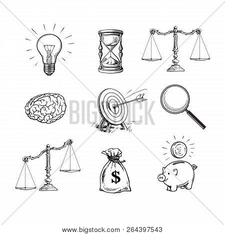 Business Concepts Set. Light Bulb, Hourglass, Scales, Brain, Target, Magnifying Glass, Sack Of Dolla