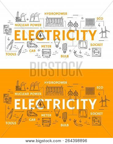 Electricity And Power Plants Thin Line Icons. Vector Electrician Tools Ammeter, Voltmeter Or Wires A