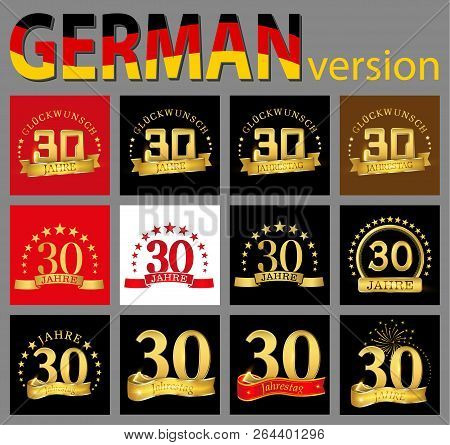 Set Of Number Thirty (30 Years) Celebration Design. Anniversary Golden Number Template Elements For