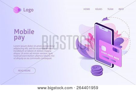 Isometric Mobile Pay Concept Business Marketing Layout For Website Landing Header