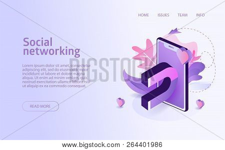 Isometric Social Networking Concept Business Marketing Layout For Website Landing Header