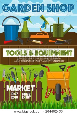 Garden Shop Poster, Farming And Gardening Tools Market Announcement. Vector Gardener Wheelbarrow, Pr