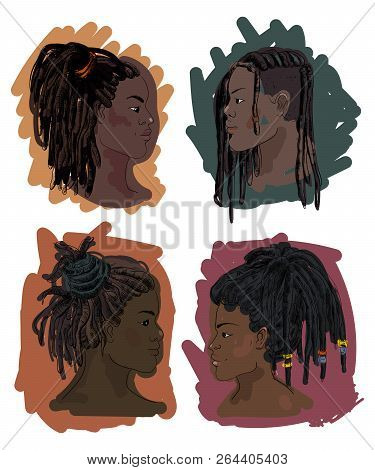 Portrait Of Men And Women With Dreadlocks In Profile. Isolated On White Background. Vector Illustrat