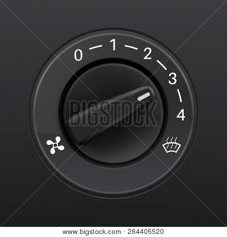 Car Dashboard Knob Switch. Auto Air Conditioner. Air Flow Level Selector. Vector 3d Illustration