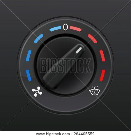 Car Dashboard Knob Switch. Auto Air Conditioner. Temperature Selector. Vector 3d Illustration