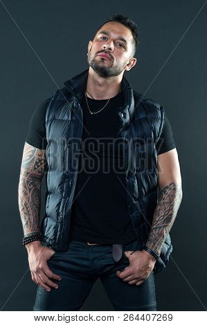 Tattoos Great Way Express Masculinity And Manliness. Bearded Man Posing With Tattoos. Masculinity An