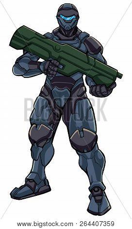 Illustration Of Futuristic Soldier In High-tech Exoskeleton Armor Suit Holding Big Laser Gun.