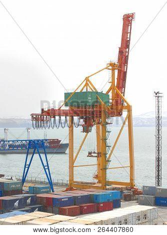 Petropavlovsk Kamchatsky, Kamchatka Peninsula, Russia - May 20, 2018: Port Cranes And Containers On