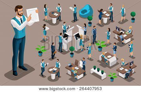 Isometry Set 7, Bank Icons With Bank Employees, Men Bank Employee, Customer Service Manager. Financi