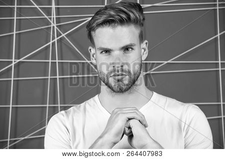 Man Bearded Concentrated Focused Glance. Guy Unshaven Face And Mustache Look Strictly. Beard Groomin