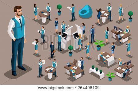 Isometry Set 2, Bank Icons With Bank Employees, Men Bank Employee, Customer Service Manager. Financi
