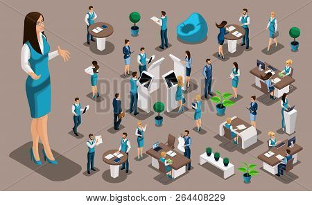 Isometric Set 6, Bank Icons With Bank Employees, Woman Bank Worker, Customer Service Manager. Financ
