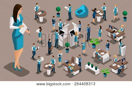 Isometric Set 7, Bank Icons With Bank Employees, Woman Bank Worker, Customer Service Manager. Financ