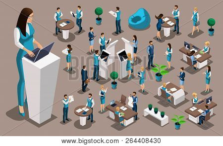 Isometric Set 4, Bank Icons With Bank Employees, Woman Bank Worker, Customer Service Manager. Financ