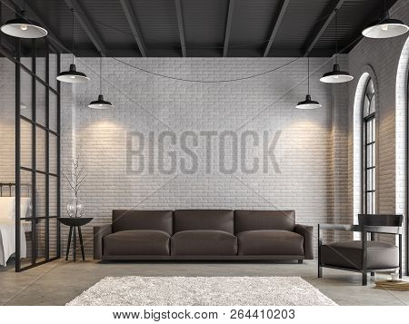Loft Living Room And Bedroom 3d Render,there Are White Brick Wall,polished Concrete Floor.furnished