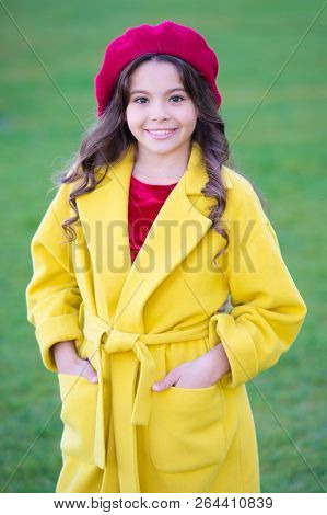Charming French Style Fashionable Girl. Fall Fashion Concept. Hat Accessory French Fashion Detail. K