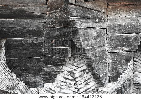 abstract image of wood joinery in old church, textural background poster