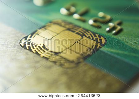 Gold Credit Cards Close Up. Macro Shot Smart Card, Credit Card Chip