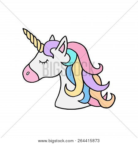 Colorful rainbow unicorn vector illustration drawing. Cute unicorn's head with rainbow mane and yellow horn. Unicorn cartoon graphic print isolated on white background. Unicorn sticker icon.