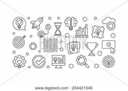 Brainstorming Creative Vector Outline Illustration. Brainstorm Concept Horizontal Banner
