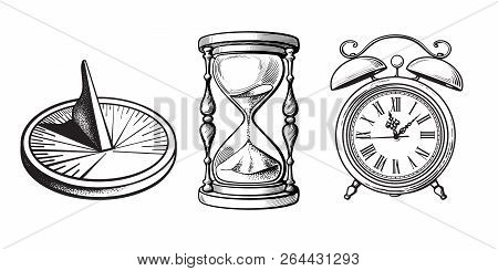 Set Of Different Old Clocks. Sundial, Hourglass, Alarm Clock. Black And White Hand Drawn Sketch Vect