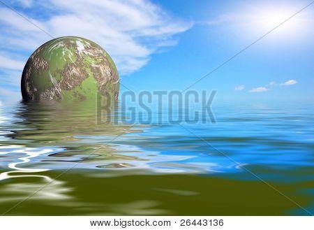 futuristic green planet rise poster