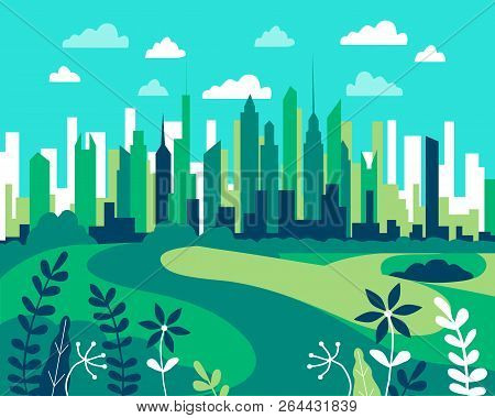 City Landscape Flat. Design Urban Illustration Vector In Simple Minimal Geometric  Style With Buildi