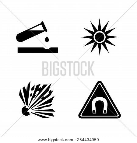Danger, Attention, Hazard. Simple Related Vector Icons Set For Video, Mobile Apps, Web Sites, Print