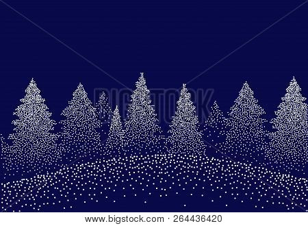 Winter Background Landscape With Fir Trees And Pines In Snow. Coniferous Forest, Night, Sky, Stars.