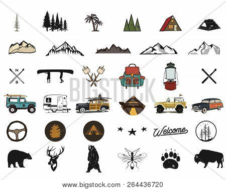Vintage Hand Drawn Adventure Symbols, Hiking, Camping Shapes Of Backpack, Wild Animals, Canoe, Surf
