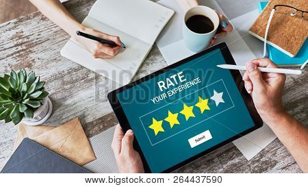 Rate Customer Experience Review. Service And Customer Satisfaction. Five Stars Rating.