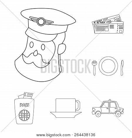 Vector Design Of Airport And Airplane Symbol. Collection Of Airport And Plane Stock Vector Illustrat