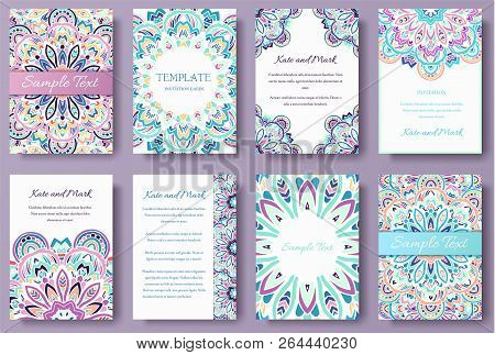 Set Of Old Fairy Tail Flyer Pages Ornament Illustration Concept. Vintage Art Traditional, Islam, Ara