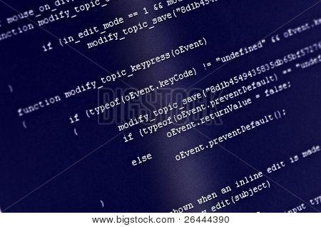 Program code on computer screen