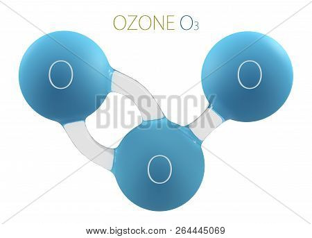 O3 ozone 3d molecule isolated on white poster