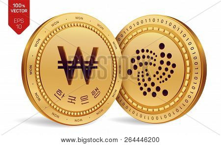 Iota. Won. 3d Isometric Physical Coins. Digital Currency. Korea Won Coin With The Text In Korean Ban