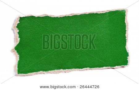 Piece of color paper for memo isolated on white