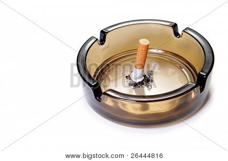 Cigarette butt in ash tray. Side view. Isolated