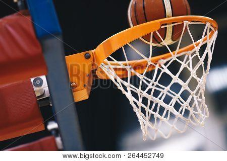 Basketball Scoring Basket At A Sports Arena. Scoring The Winning Points At A Basketball Game. The Or